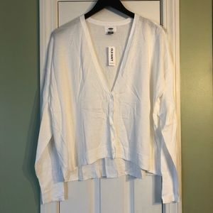 Old Navy XL White Cardigan V-Neck Sweater